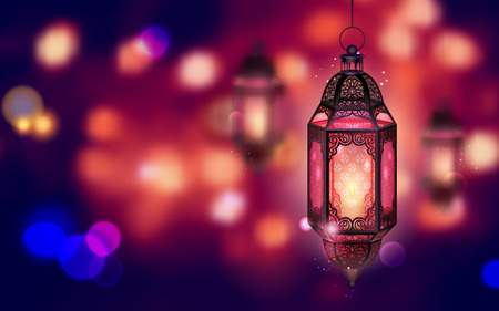 mubarak: illustration of illuminated lamp on Ramadan Kareem (Generous Ramadan) background