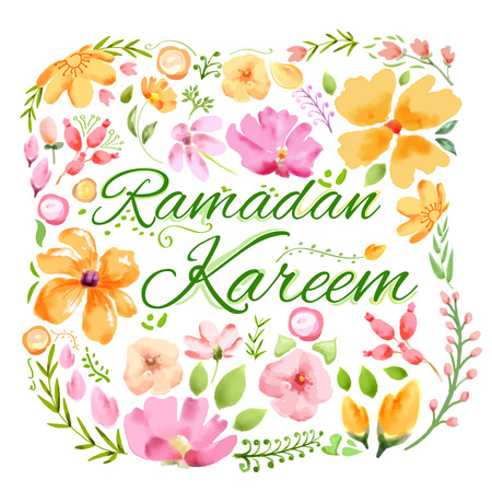 ramadhan: illustration of Ramadan Kareem greeting with floral watercolor painting