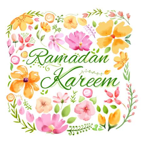 ramadhan: illustration of Ramadan Kareem greeting with floral watercolor painting