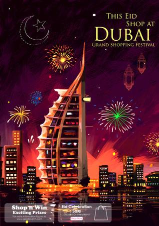 nightscape: illustration of Eid Celebration Dubai city nightscape Illustration