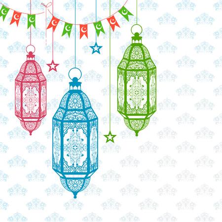 religious backgrounds: illustration of arabic lamp on Eid Mubarak (Happy Eid) background