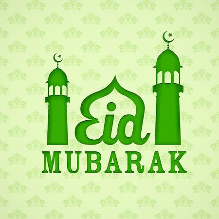 ramzan: ilustraci�n de Eid Mubarak (Happy Eid) de fondo con la mezquita