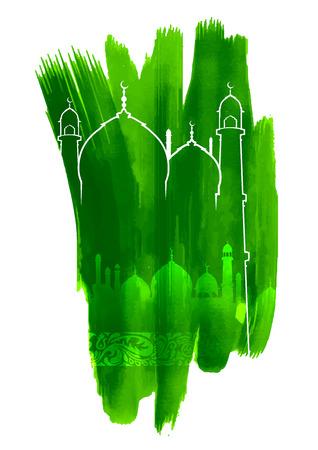 ramzan: illustration of Grungy Eid Mubarak (Happy Eid) Background with mosque