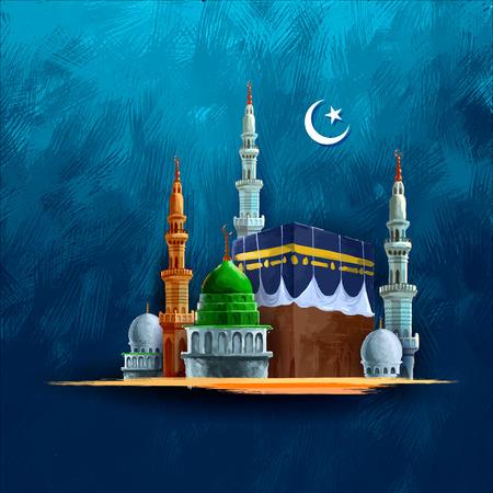 カーバ神殿と Eid Mubarak (ハッピーイード) 背景のイラスト