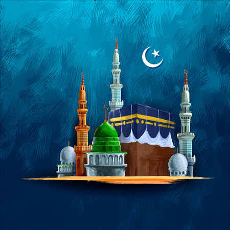ul: illustration of Eid Mubarak (Happy Eid) background with Kaaba Illustration