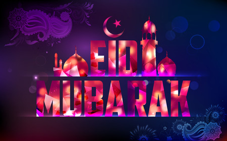chand: illustration of Eid Mubarak (Happy Eid) background with mosque