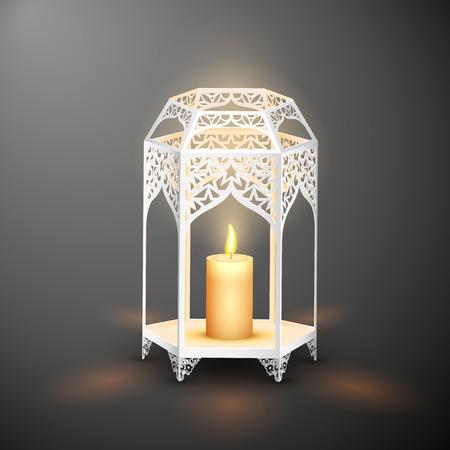 KA: illustration of illuminated lamp on Eid Mubarak (Happy Eid) background