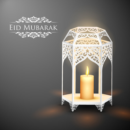 mubarak: illustration of illuminated lamp on Eid Mubarak (Happy Eid) background
