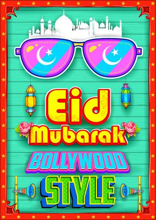 bollywood: illustration of Eid Mubarak (Happy Eid) background Bollywood Style Illustration