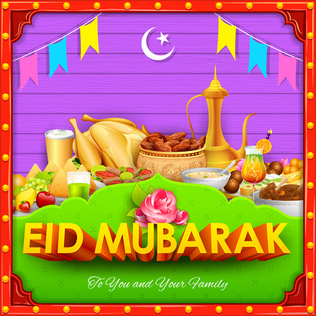 mediterranean food: illustration of Eid Mubarak (Happy Eid) background desi style