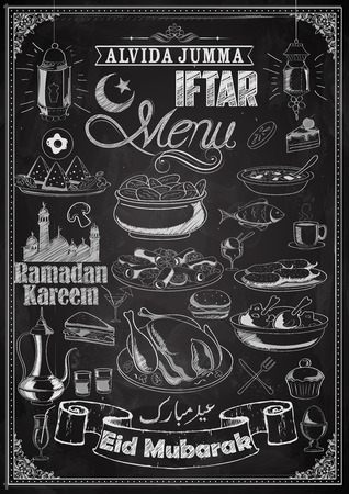 blackboard: ilustración de deliciosos platos de menú de la fiesta Iftar en la pizarra