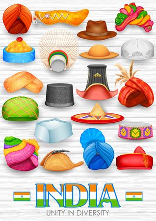 ? ?   ? ?    ? ?   ? ?  ? ?  ? hat: Ilustración de la colección de artículos de sombrerería tradicionales de la India