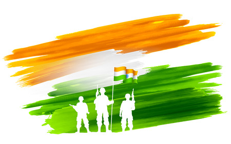 independence day: illustration of soldier standing on tricolor flag of India backdrop