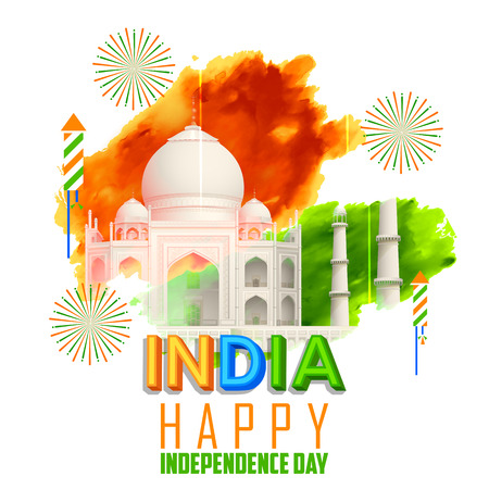 independence: illustration of Taj Mahal with Tricolor India grunge for Independence Day