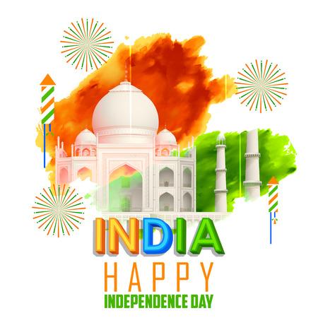 independencia: ilustración de Taj Mahal con Tricolor India grunge para el Día de la Independencia