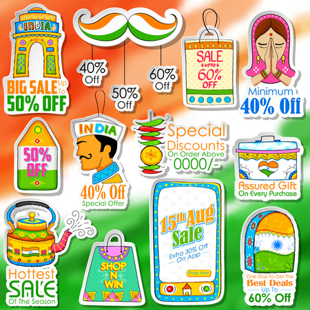 kitsch: illustration of Happy Independence Day shopping sale in Indian kitsch style Illustration