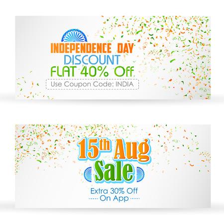 independencia: ilustración de diseño tricolor de la India con la bandera de la India para la venta y promoción