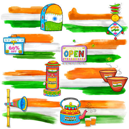 india culture: illustration of India banner for sale and promotion in kitsch style Illustration