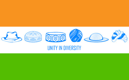 christian community: illustration of headgears of differnet Indian religion showing unity in diversity of India