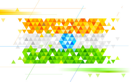 india culture: illustration of abstract India Background in tricolor triangle Illustration