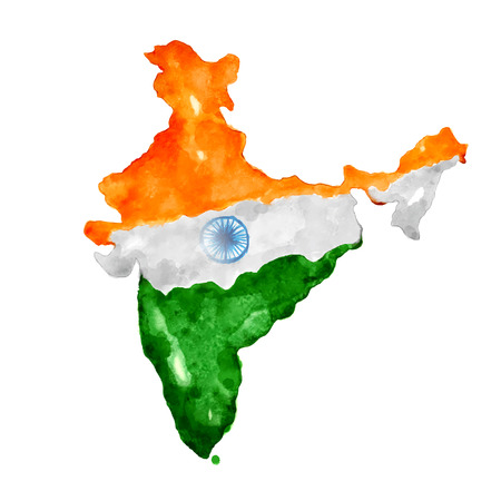 splashy: illustration of watercolor painting of Indian map