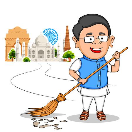 bandera de la india: ilustración de la gente de la India que desean Feliz Día de la Independencia de la India