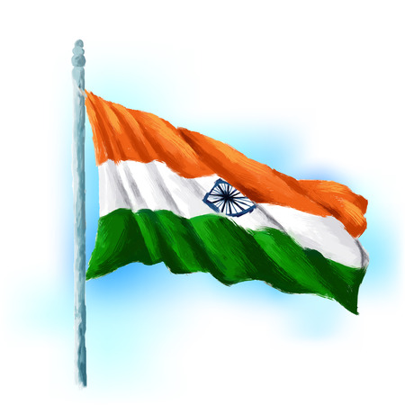 independence: illustration of Indian tricolor flag waving high Illustration