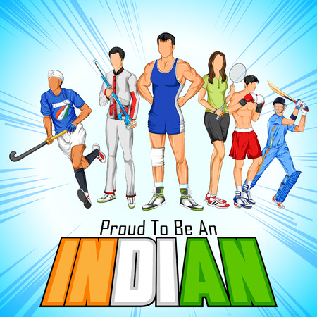 freedom woman: illustration of India sportsperson from different field is proud to be an Indian