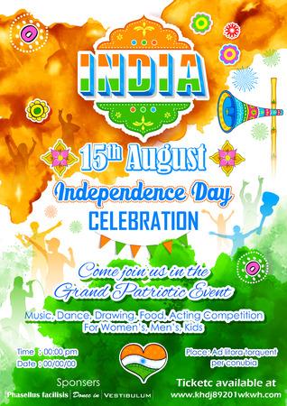 bandera de la india: ilustraci�n de cartel para la celebraci�n del D�a de la Independencia de la India