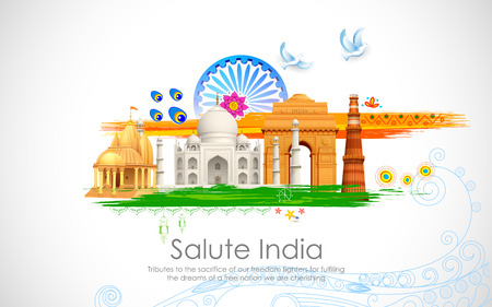 illustration of wavy Indian flag with monument Ilustração