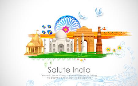 enero: Ilustración de la bandera india ondulada con el monumento Vectores