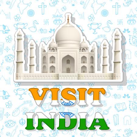 agra: illustraion of sticker of visit India with Taj Mahal