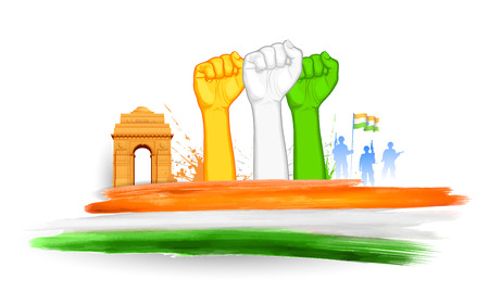 india gate: illustration of fist in Indian tricolor with India Gate