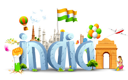 qutub minar: illustration of tricolor balloon with Indian flag and monument Illustration