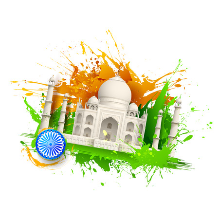 ashok: illustration of Taj Mahal with Tricolor India grunge Illustration