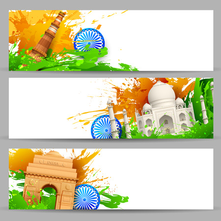 independence day: illustration of set of banner for colorful India with monument Illustration