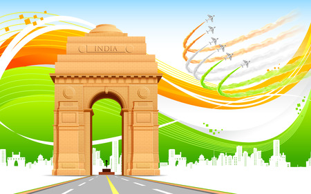 india culture: illustration of India gate on abstract flag tricolor background