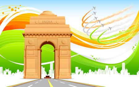 enero: ilustración de Puerta de la India en la bandera tricolor de fondo abstracto