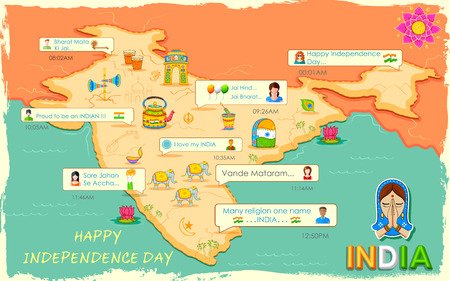 map of india: illustration of Happy Independence Day message in social media application Illustration