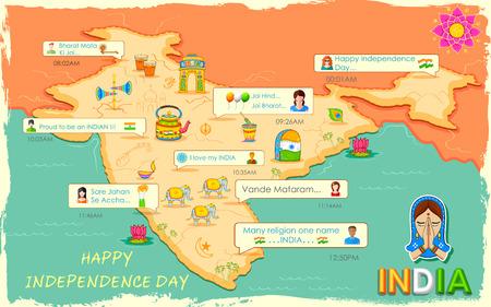 Illustrazione del messaggio Buon Independence Day in applicazione social media Archivio Fotografico - 43569215