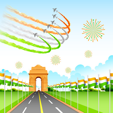 august: illustration of airplane making Indian tricolor flag around India Gate Illustration