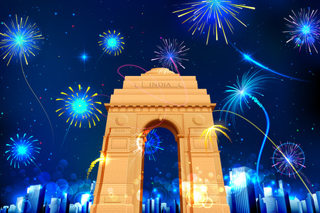 india gate: illustration of firework display in India Gate for celebration Illustration
