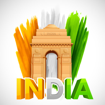 26th: illustration of India Gate with Tricolor grungy background