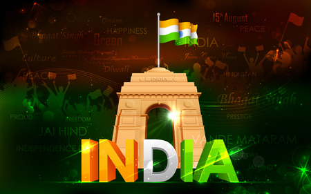 illustration of India Gate with Tricolor Flag