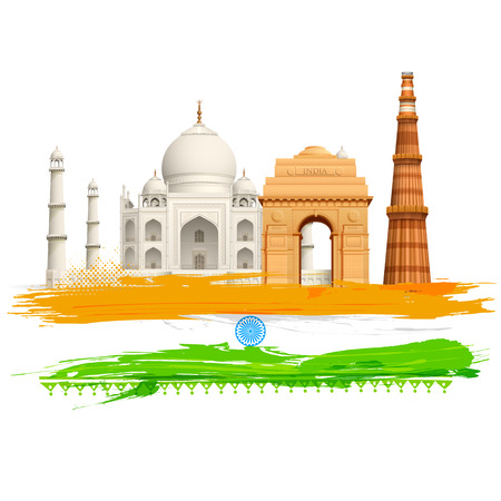 monument: illustration of wavy Indian flag with monument Illustration