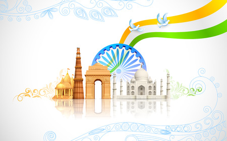 independence day: illustration of wavy Indian flag with monument Illustration