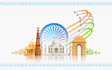 26th: illustration of airplane making Indian flag on monument backdrop