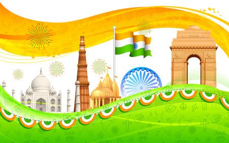 independencia: Ilustración de la bandera india ondulada con el monumento Vectores