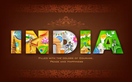 Illustration von Indien Hintergrund zeigt seine Kultur Standard-Bild - 43569229