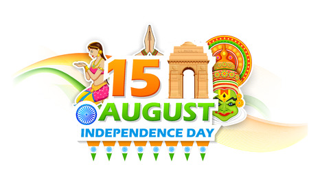 independence day: illustration of Independence Day of India background with India Gate Illustration